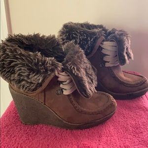 Brown Wedge Ankle Boots.